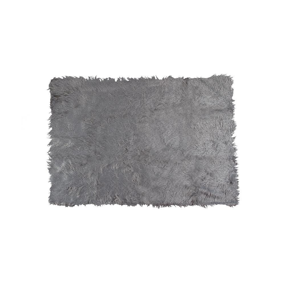 Plano Sage Gray 50 in. x 70 in. Mongolian Sheepskin Faux Fur Indoor Throw
