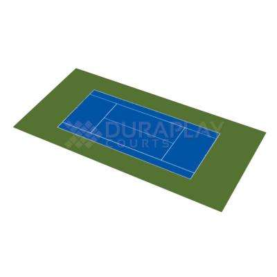 58 ft. 10 in. x 119 ft. 10 in. Royal Blue and Olive Green Full Tennis Court