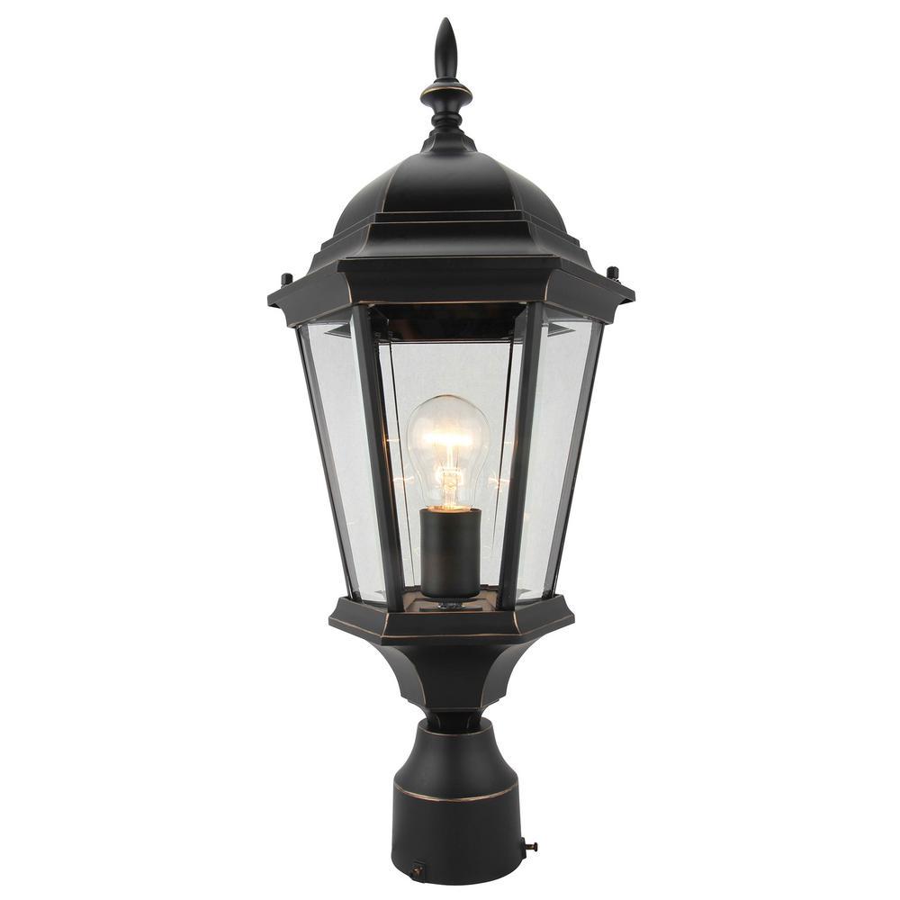 1-Light Imperial Black Outdoor Post Lantern