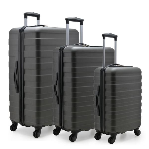 U.S. Traveler Cypress Colorful 3-Piece Charcoal Hardside Spinner Luggage Set