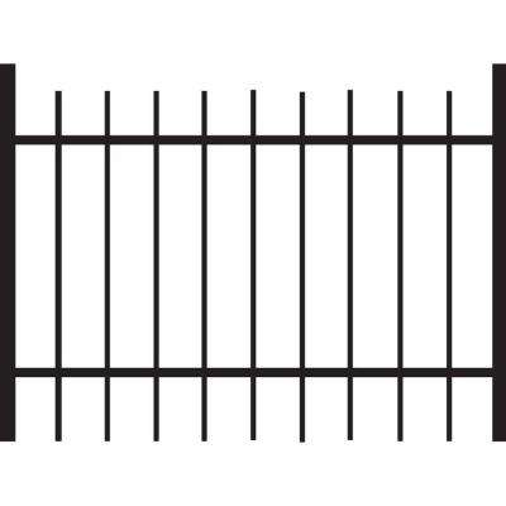 Brunswick 4 ft. W x 3 ft. H Black Standard-Duty Aluminum Straight Pre-Assembled Fence Gate
