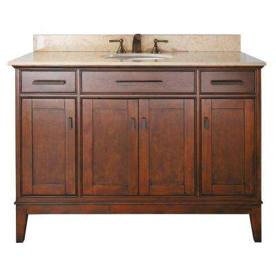 Madison 49 in. W x 22 in. D x 35 in. H Vanity in Tobacco with Marble Vanity Top in Galala Beige and White Basin