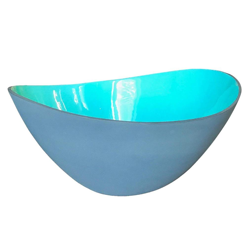 12 in. Ceramic Large Teal and Grey Wave Salad Bowl