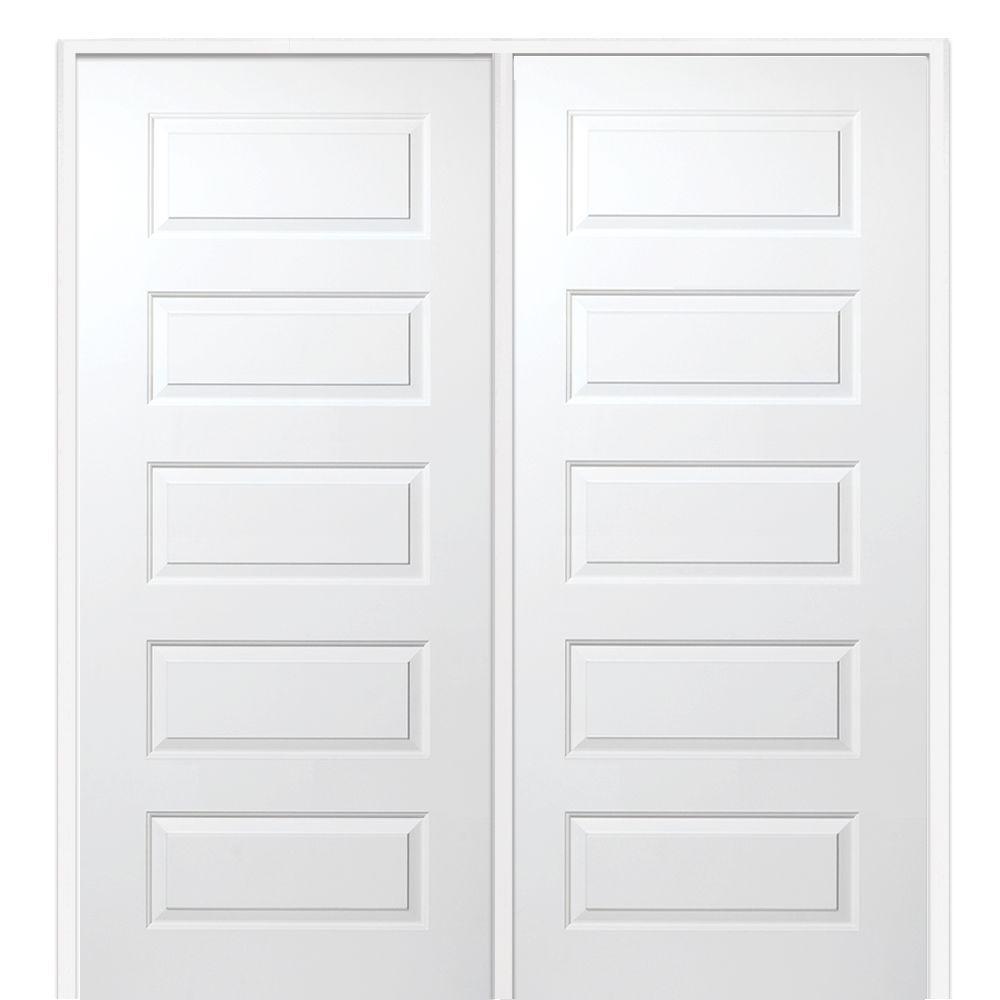 Prehung Interior Double Doors mmi door 61.5 in. x 81.75 in. primed rockport smooth surface solid
