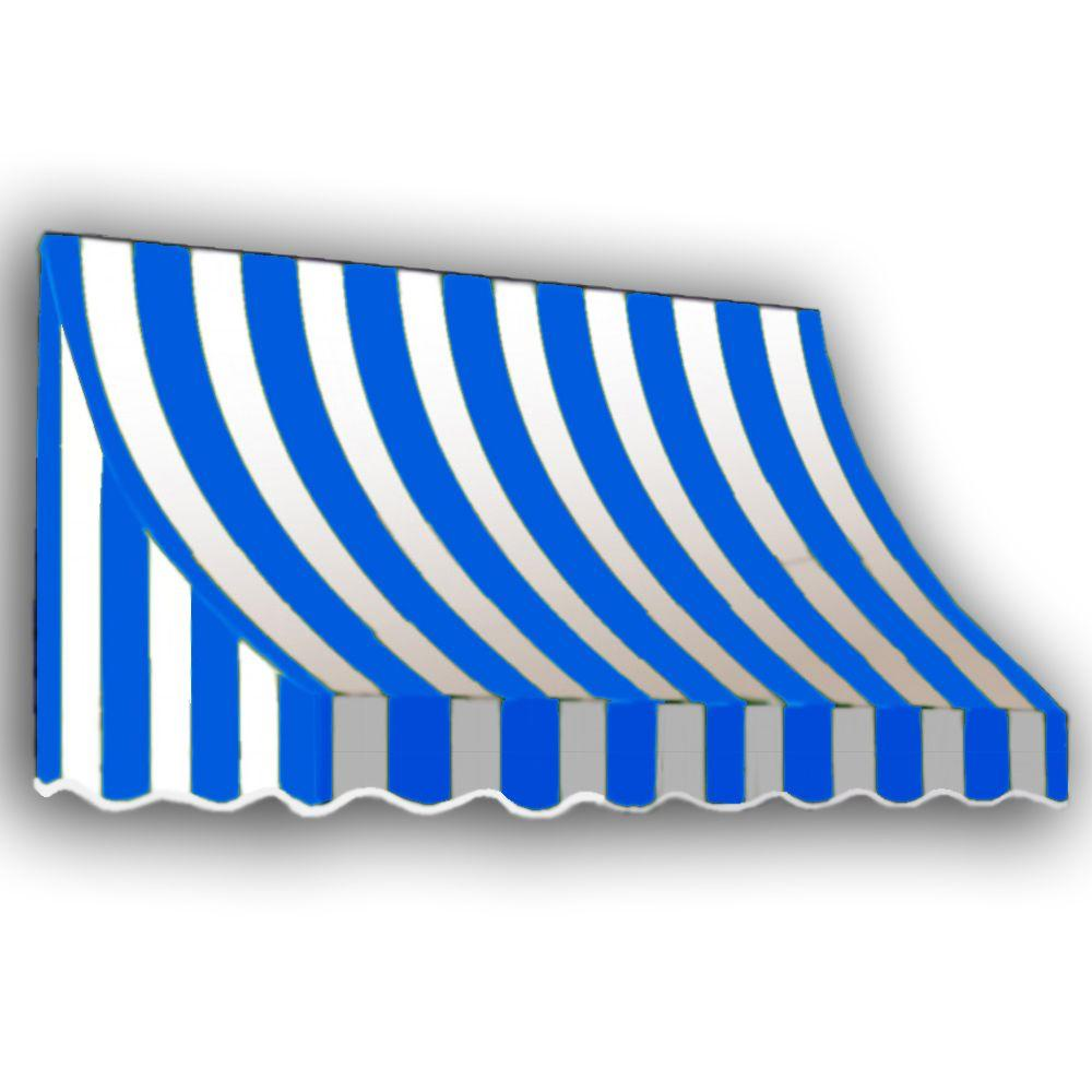 AWNTECH 12 ft. Nantucket Window/Entry Awning (56 in. H x 48 in. D) in. Bright Blue/White Stripe