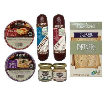 Hunter's Choice 7-Piece Gift Set with Wild Game Summer Sausage, All Natural Cheese Spread, Gourmet Mustards and Crackers