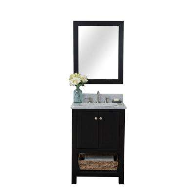 Wilmington 24 in. W x 34.2 in. H x 22 in. D Bath Vanity in Espresso with Marble Vanity Top in White with White Basin