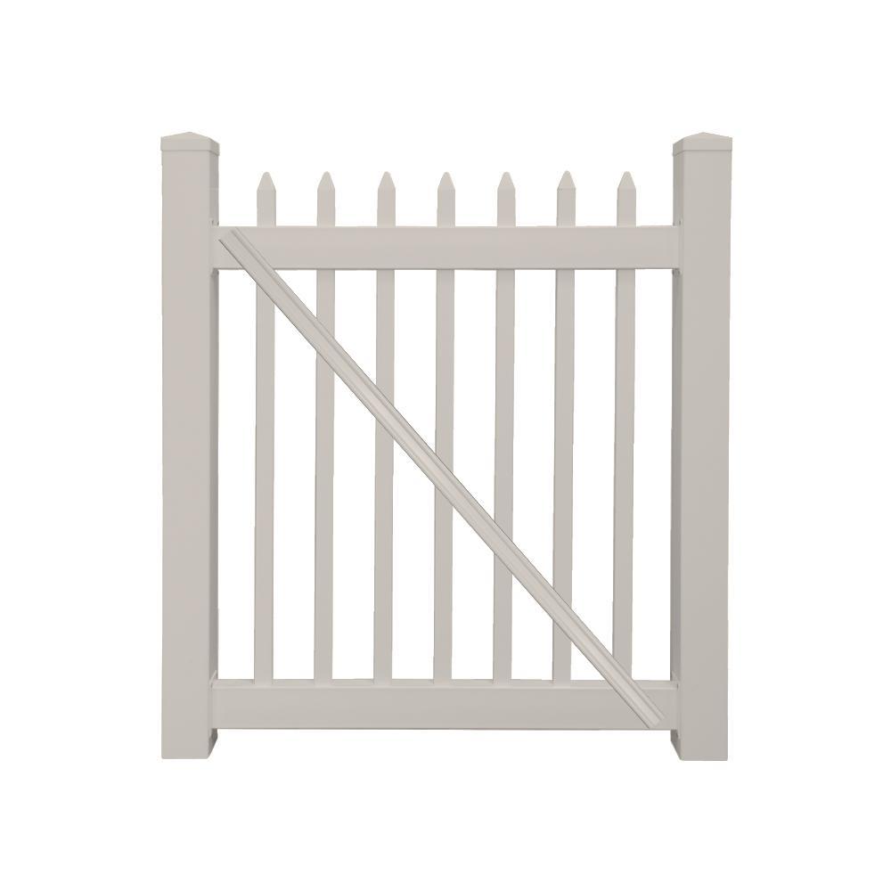 Abbington 4 ft. W x 3 ft. H Tan Vinyl Picket Fence Gate
