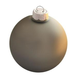 2.75 in. Silver Smoke Matte Glass Christmas Ornaments (12-Pack)