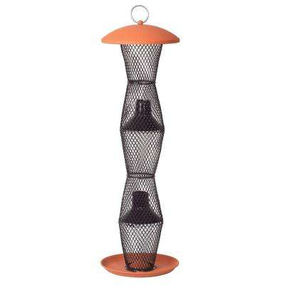 Terra Cotta and Black Sunflower Tube Bird Feeder