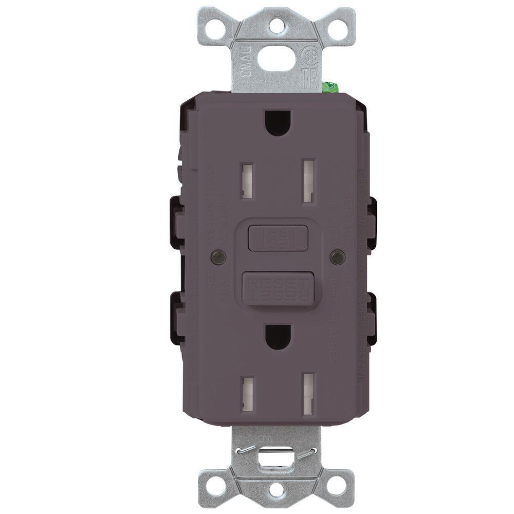 Satin Colors 15-Amp Tamper-Resistant GFCI Duplex Receptacle - Plum