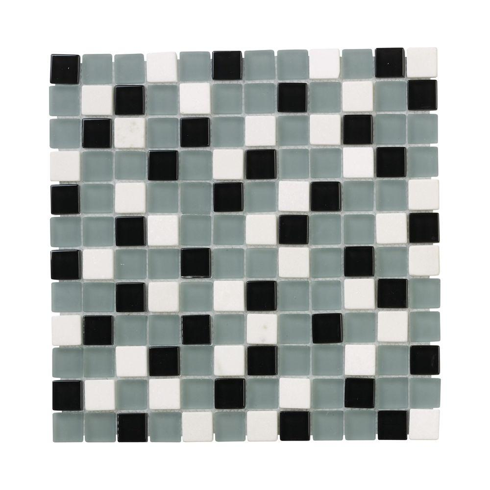 Jeffrey Court Nordic Carrara 12 in. x 12 in. x 8 mm Glass Slate Mosaic Floor/Wall Tile