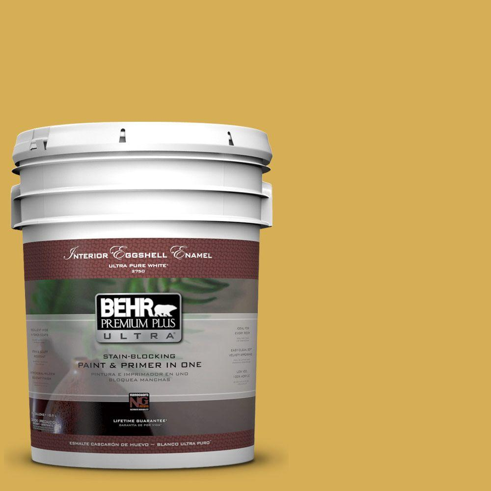 5 gal. #370D-6 Golden Cricket Eggshell Enamel Interior Paint and Primer