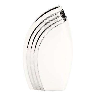 White Art Deco Vase with Metallic Silver Accent, Large