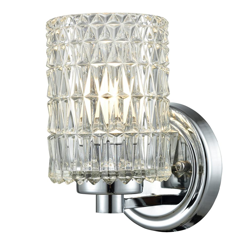 Springdale Ligthing Juno Crystal 1-Light Polished Chrome Wall Sconce-GW15324 - The Home Depot
