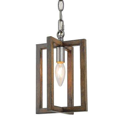 Eliora 1-Light 6 in. Gray Cage Lantern Pendant Light with Painted Pine Accents
