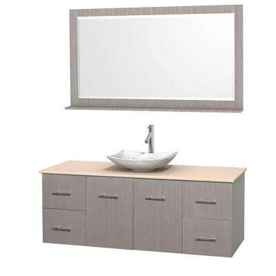 Centra 60 in. Vanity in Gray Oak with Marble Vanity Top in Ivory, Carrara White Marble Sink and 58 in. Mirror