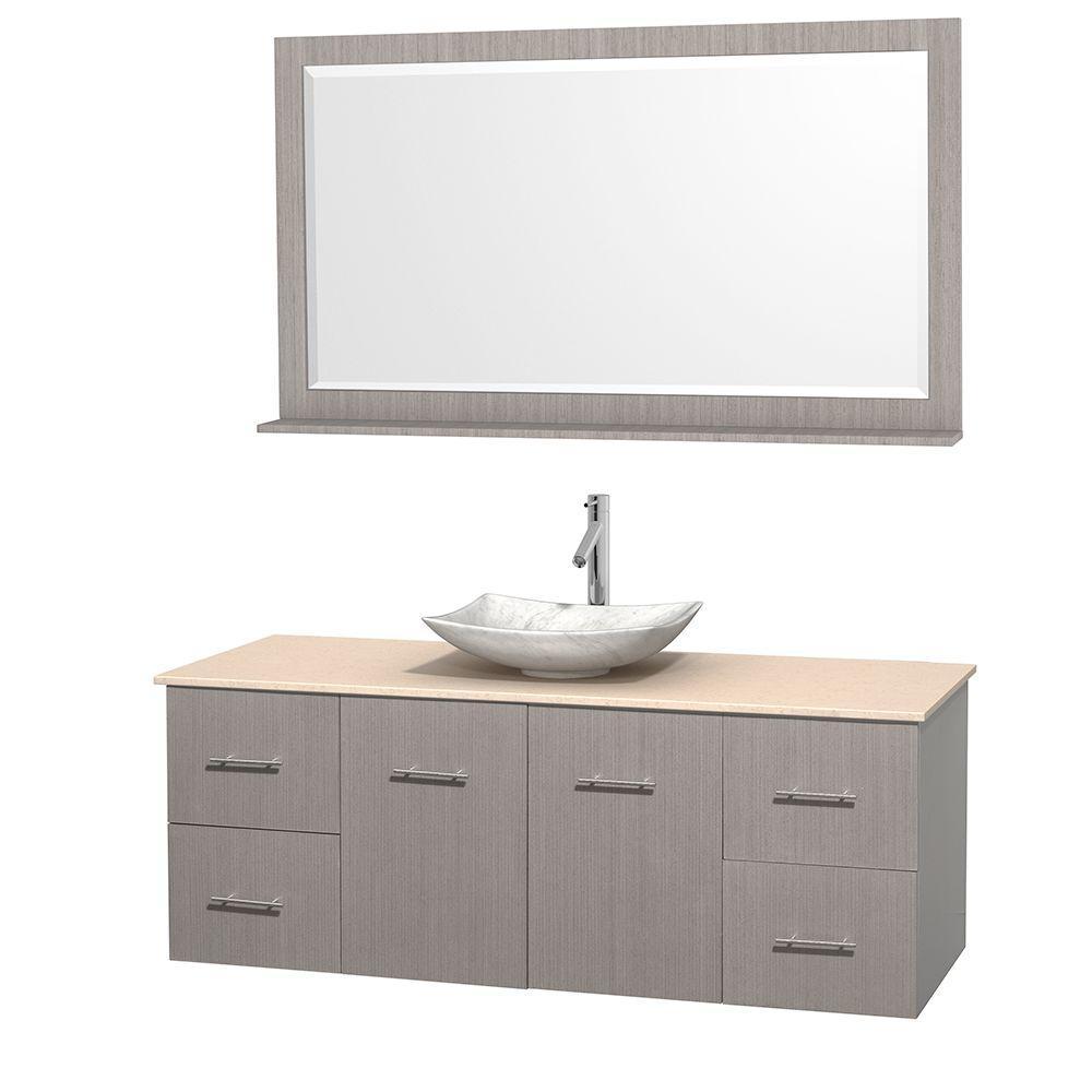 Centra 60 in. Vanity in Gray Oak with Marble Vanity Top
