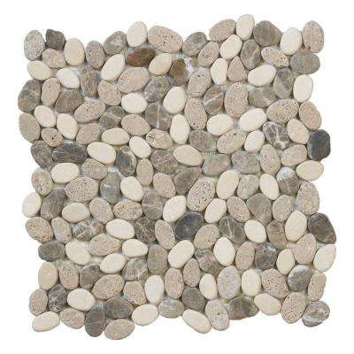 Emperador River Rocks 11.5 in. x 11.5 in. x 10 mm Marble Mosaic Floor/Wall Tile