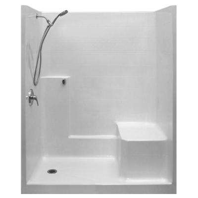Standard-SA 33 in. x 60 in. x 77 in. 1-Piece Low Threshold Shower Stall in White, Shower Kit, Molded Seat, Left Drain
