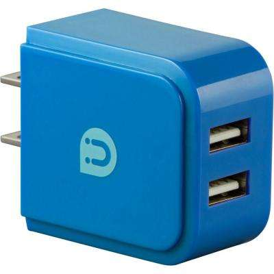 2.0 - 2.4 Amp AC USB Adapter, Blue