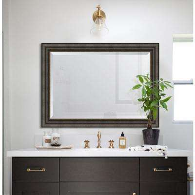 31 in. x 43 in. Framed 3 3/8 in. Textured Brown with Silver Lip Resin Mirror