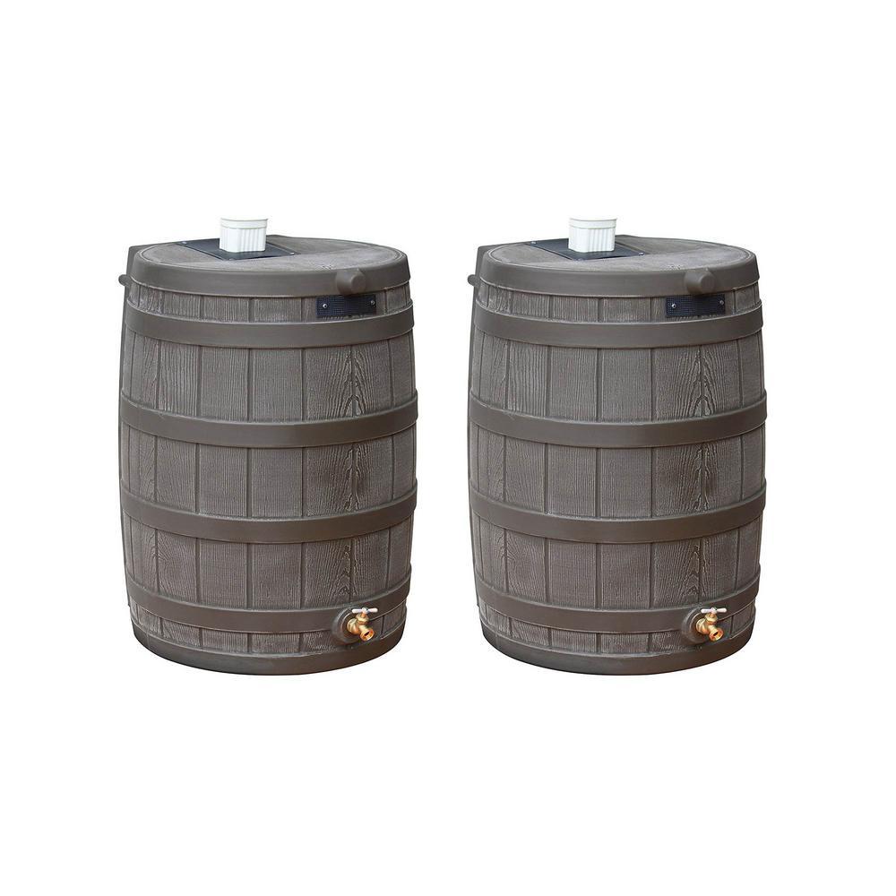 Rain Wizard 50 Gal. Water Collection Barrel Drum, Oak (2-Pack)