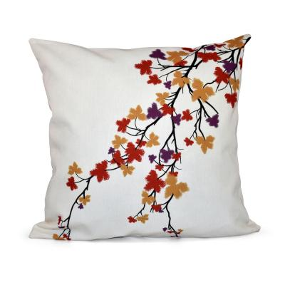 Maple Hues Flower Print Throw Pillow in Purple