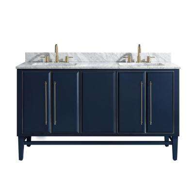 Mason 61 in. W x 22 in. D Bath Vanity in Navy Blue/Silver Trim with Marble Vanity Top in Carrara White with White Basins