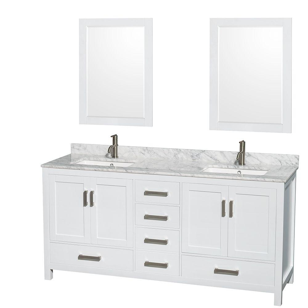 Sheffield 72 in. Double Vanity in White with Marble Vanity Top