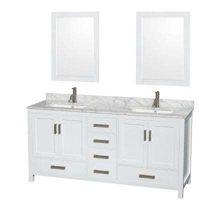 Sheffield 72 in. Double Vanity in White with Marble Vanity Top in Carrara White and 24 in. Mirrors