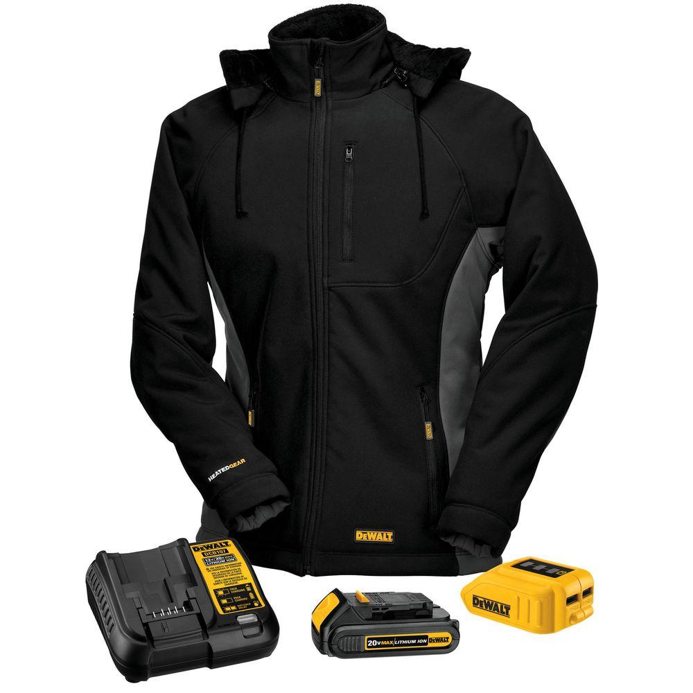Women's Medium Black 20-Volt MAX Heated Hooded Jacket Kit with 20-Volt