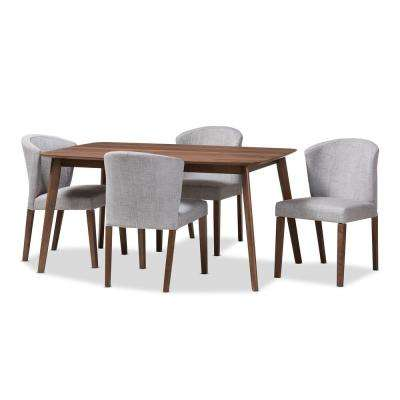 Cassie 5-Piece Light Gray and Walnut Brown Dining Set