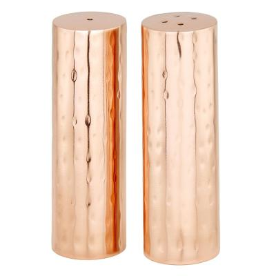 Hammered Copper Cylindrical Salt and Pepper Shaker Set