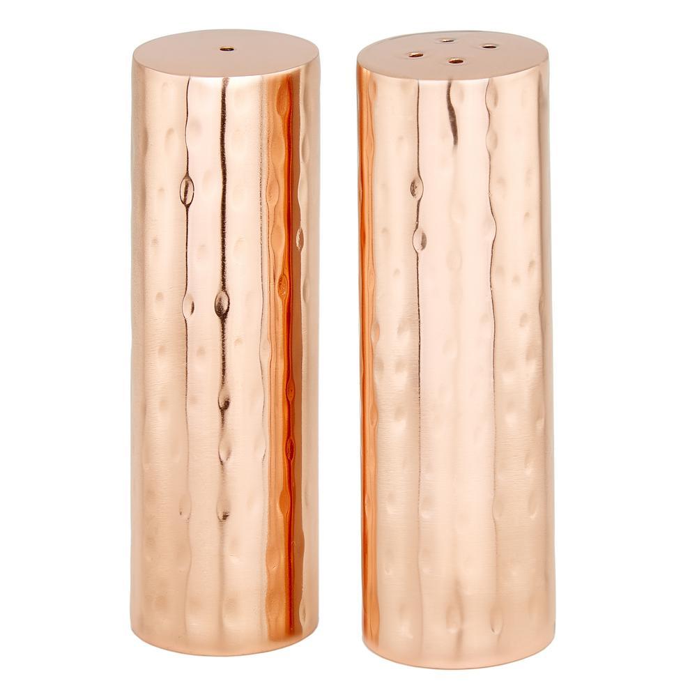 Hammered Copper Cylindrical Salt and Pepper Shaker Set