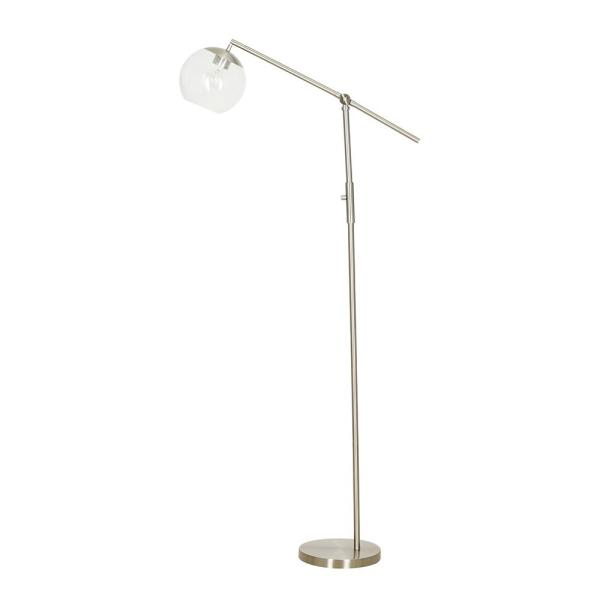 59 in. Brushed Nickel Floor Lamp with Clear Glass Shade