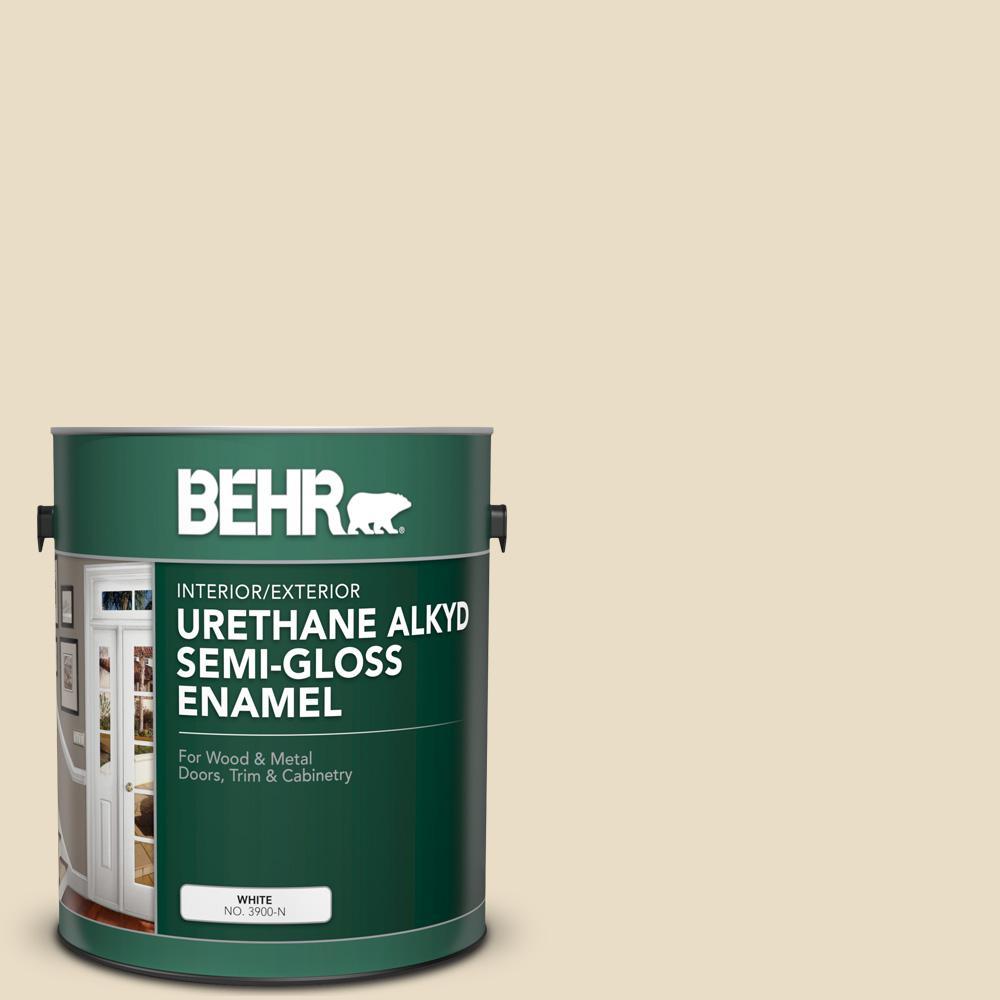 1 gal. #22 Navajo White Urethane Alkyd Semi-Gloss Enamel Interior/Exterior Paint