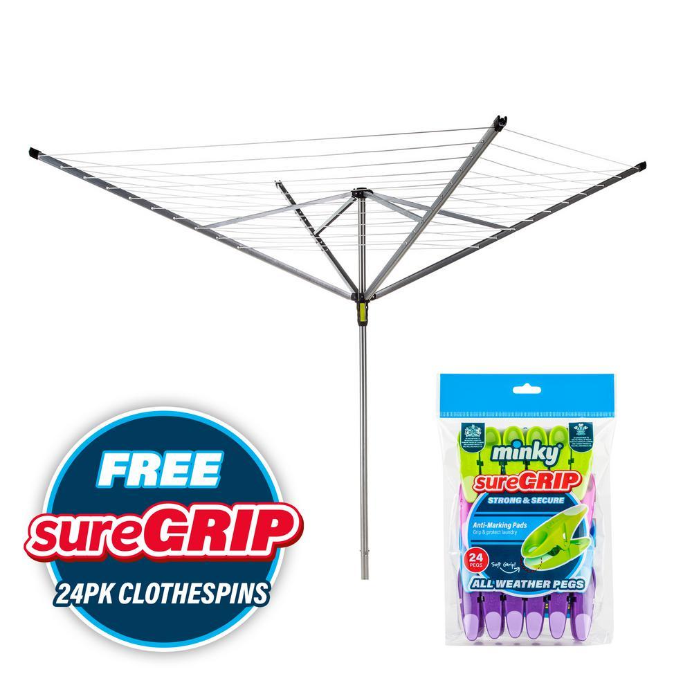 Minky Easy Breeze 164 ft. Outdoor Umbrella Clothesline with 24 Sure Grip Clothespins