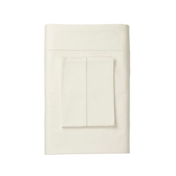 The Company Store Organic 300-Thread Count Cotton Sateen Ivory Solid Twin