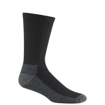 At Work Crew Cushioned Cotton No Odor Durable Black Work Socks (3-Pack)
