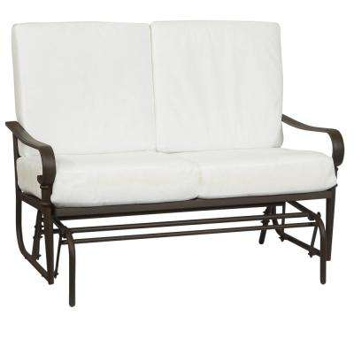 Oak Cliff Brown Steel Outdoor Patio Glider with Bare Cushions