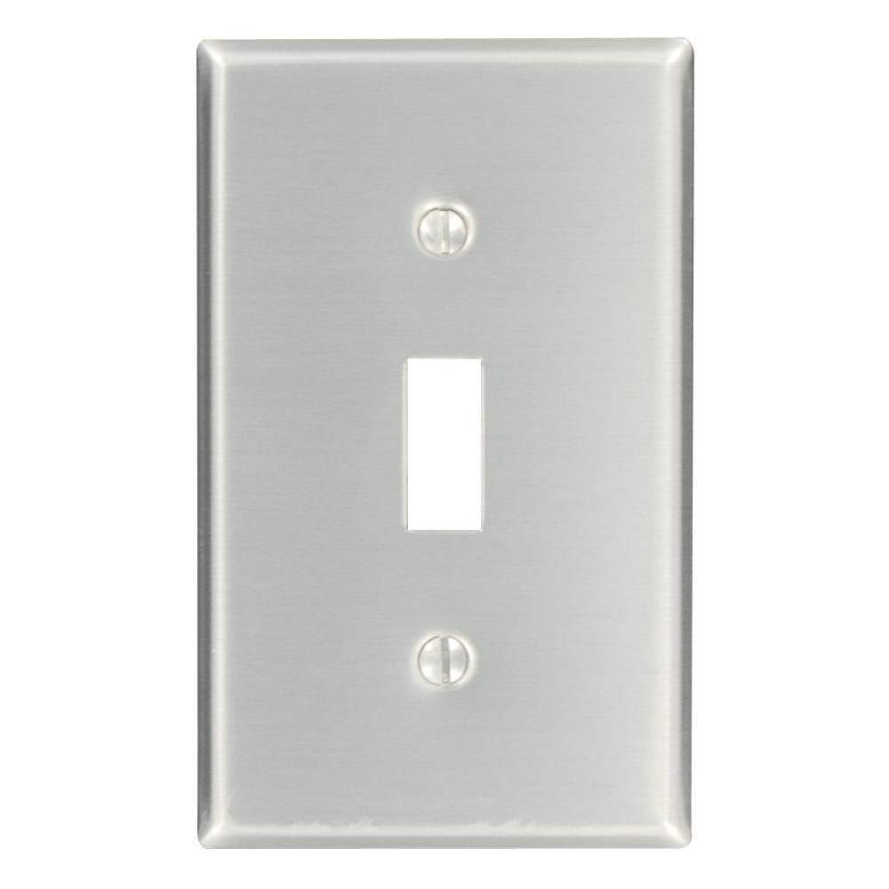 1-Gang 1-Toggle Standard Size Aluminum Wall Plate, Aluminum