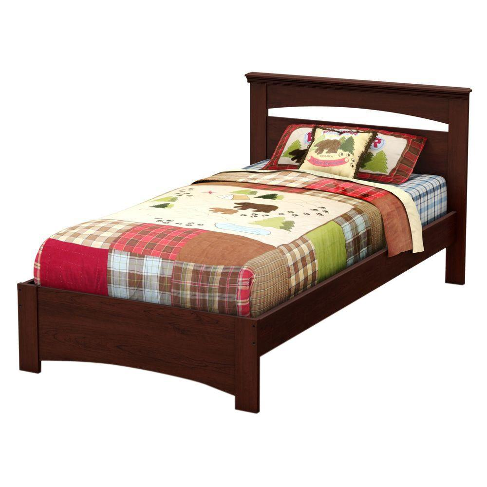 South Shore Libra Royal Cherry Twin Size Complete Bed 3246189 The