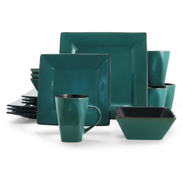 GIBSON elite Kiesling 16-Piece Blue and Black Dinnerware Set 98599915M