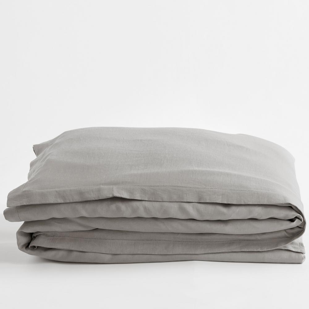 Solid Washed Gray Linen King Duvet Cover