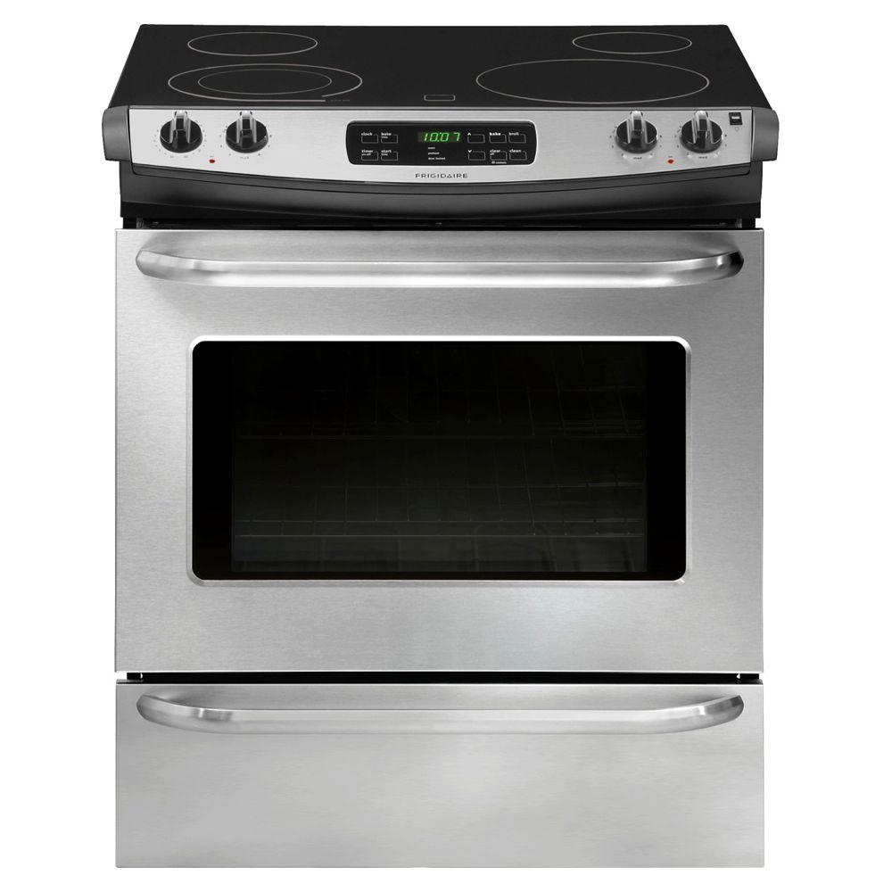Frigidaire 30 in. 4.6 cu. ft. Slide-In Smoothtop Electric Range with Self-Cleaning Oven in Stainless Steel