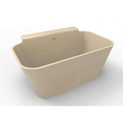 Richmond 4.75 ft. Solid Surface Flat Bottom Freestanding Air Bath Bathtub in Almond