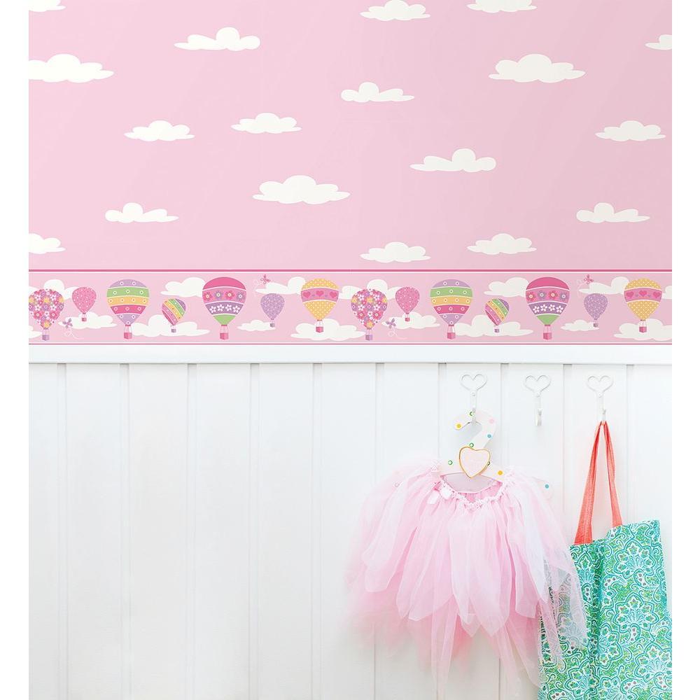 Balloons Pink Wallpaper Border Sample