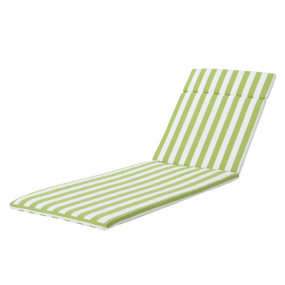 Le House Miller Green And White Striped Outdoor Water Resistant Chaise Lounge Cushion