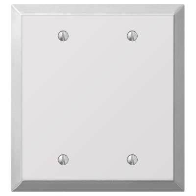 Metallic 2 Gang Blank Steel Wall Plate - Polished Chrome